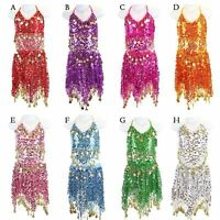 AU Belly Dance Costume Suit Tops + Skirt for 2-8 Years Kid Carnival party dress