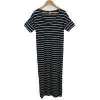 Seafolly Womens Maxi Dress Size Small Black White Striped Short Sleeve V-Neck