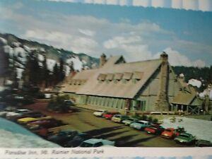 VINTAGE POST CARD PARADISE INN OLD LODGE & CARS IN LOT MOUNT RAINIER WA.