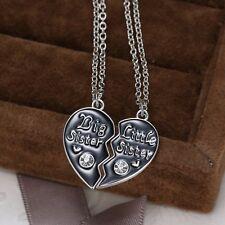 2PCS A-OK Big Litter Sister Crystal Heart Pendant Necklace Broken Heart Friend