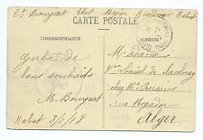 ALGERIA: French military mail, postcard 1918.