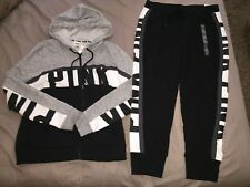 NWT VICTORIA'S SECRET PINK FULL ZIP HOODIE & SKINNY JOGGER SET OUTFIT SIZE L