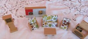 7 items Vintage Dol-Toi dolls house Lounge furniture, Fireplace,Clock,record
