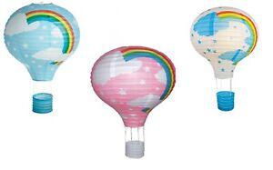 "Children's Paper Lantern Light Shade 16"" Rainbow Disney Hot air Balloon Easy Fit"