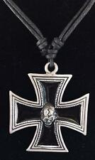 Iron Cross Skull Pewter Pendant biker gothic Schwartz steampunk feeanddave