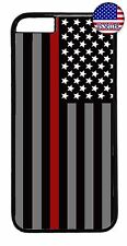 Firefighter Red Line Flag Rubber Case Cover For iPhone 7 6 6s Plus 5 5s 5c 4