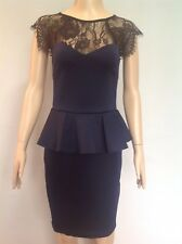 Lipsy Lace Detail Peplum Body on Dress Navy With Black Lace Yolk Size 8