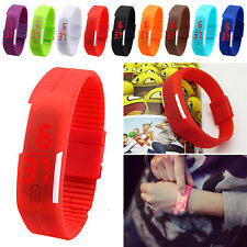 Waterproof Fashion Men Women Digital LED Sports Silicone Bracelet Wrist Watch
