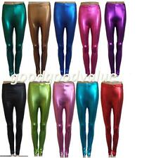 Womens Girls Footless Metallic Stretch Leggings 70' 80' Disco Party Pants