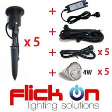 LED Garden Spike Light Kit 12V 4W EASY INSTALL - 5 pack + cable, extensions & PS