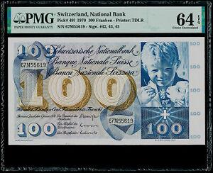 100 Franken 1970 Switzerland, National Bank Pick# 491 PMG 64 EPQ Choice UNC.