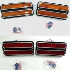 Set (4) 1968-72 Chevy Truck Red & Amber LED Side Marker Lights Turn Signals