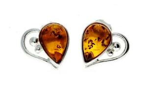 925 Sterling Silver & Baltic Amber Love Hearts Studs Earrings SilverAmber M194