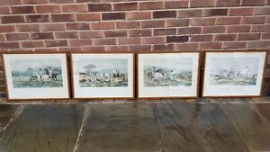 Set of 4 countryside pursuits horse hounds hunting framed print pictures DAMAGE