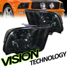Smoke Smoked Tint Lens Sport Headlights Headlamp Pair Dy For 05-09 Ford Mustang