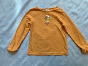 gymboree girls size 5 orange spring flower basket long sleeve t shirt