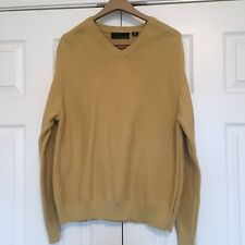 Greg Norman Mens Sweater V-Neck Size M Medium 100% Cotton Mustard Color