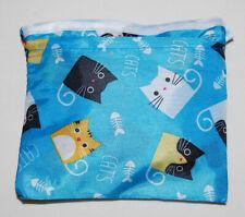 New! Foldable Turquoise Blue Cat Print Reuseable Shopping Bag