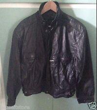 BYRNES & BAKER Black Leather Jacket Men Vintage Motorcycle Bomber Medium Hipster