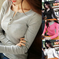 Womens Button V-Neck Long Sleeve Sweater Top Slim Blouse Pullover Knitted Jumper