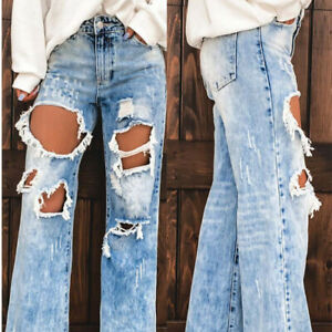 Womens Jeans Pants Trousers Long Straight Legs Loose Flare DenimWashed Ripped