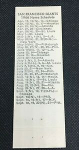 1966 San Francisco Giants Matchbook Schedule - The Oasis Menlo Park