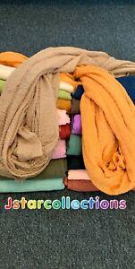 Crinkle Cotton Plain Colours  Hijab Head Cover Women  Shawl Scarf 200cm*98cm