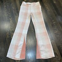 Vtg 60s 70s JON DANTE Bell Bottom Pants Pink POLYESTER Hippie Disco MENS 31 34