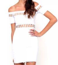 ASOS Motel rocas blanco recorte del hombro Dame Vestido Talla XS UK 8