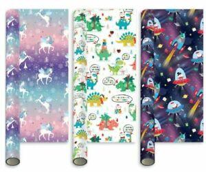 3 x 5m Kids Childrens Christmas Gift Roll Wrap Unicorn Santa Saurus & Space