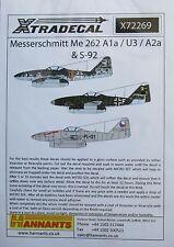 XTRADECAL 1/72 x72269 Messerschmitt me262 (a-1a/a-1a/u3, a-2a/s-92) set di decalcomanie