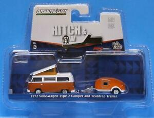 GREENLIGHT 1/64 Hitch & Tow V-DUB CLUB 1972 VW TYPE 2 CAMPER & TEARDROP TRAILER