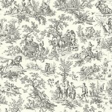 Wallpaper Designer French Country Life Toile Black on Eggshell White