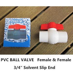 "PVC Ball Valve - 3/4"" (20mm)  Solvent Slip End - F/F, 16PCS"
