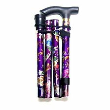 PURPLE FLOWER ADJUSTABLE LIGHT WEIGHT EASY FOLD ALUMINIUM WALKING STICKS CANE