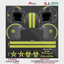 Kit GIALLO FLUO Biohazard Stella STICKER CASCO ADESIVO DECAL MOTO SCOOTER HELMET