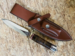 """RBH CUSTOM MADE MODEL 2-8"""" FIGHTING STILETTO KNIFE STACKED LEATHER HANDLE SHEATH"""