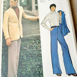 Vogue Americana 1130 Men's Jacket & Pants Bill Blass Size 38 Uncut FF