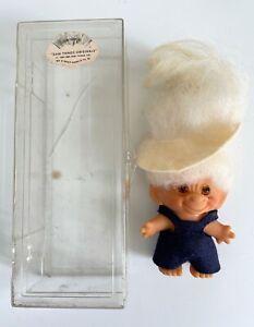 "Dam Things Original 2.5"" TROLL DOLL White Hair 1964-1965 Original Plastic Case"