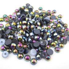 MajorCrafts® 300pcs 6mm Black AB Flat Back Half Round Resin Pearls C13