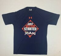 "Under Armour Miami Marlins ""Just Gettin' Started"" MLB 2015 Loose Shirt Sz Large"