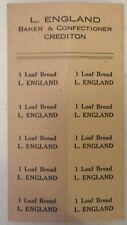 """RARE CANADIAN (CREDITON, ONT.) """"L.ENGLAND BAKER & CONFECTIONER 10 BREAD COUPONS"""""""