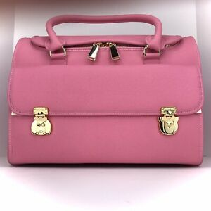 MOSHIQA Pink Leather Cat Carrier Travel Bag Gold Hardware Zip Designer Luxury