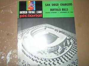 Vintage 1965 AFL Program San Diego Chargers vs. Buffalo Bills  November 25, 1965