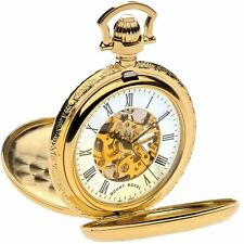 Skeleton Pocket Watch Gold Plated Very Detailed Double Half Hunter - 17 Jewel