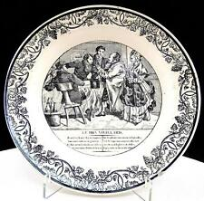 """FRENCH FAIENCE MONTEREAU ANTIQUE BLACK & WHITE GRAPE AND LEAVES 8 1/8"""" PLATE"""