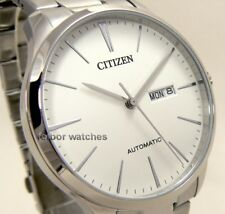 CITIZEN MEN AUTOMATIC STAINLESS STEEL DAY DATE 50m NH8350-83A cg