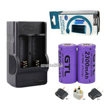2x2300mAh Li-ion Rechargeable 16340 Battery LED Torch Flashlight +18350 Charger