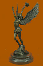 Signed Angel Religous Bronze Sculpture Mythical Statue Figurine Figure Decorativ