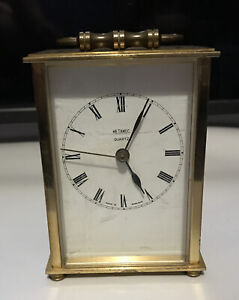 Vintage Metamec Heavy Brass Carriage Clock Powered by Quartz mechanism